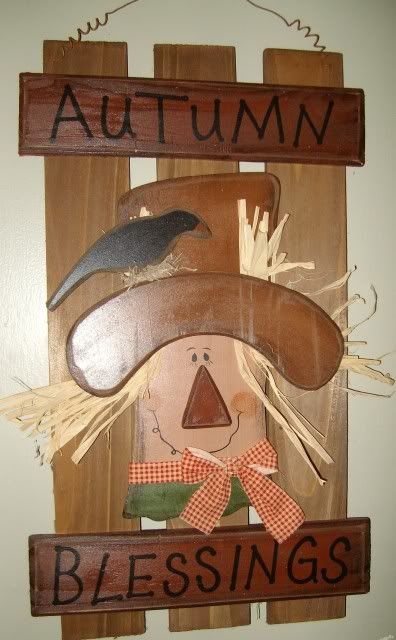 Primitive Wood Crafts | Primitive Country Fall Autumn Blessing Scarecrow Wood Fence Shutter ...