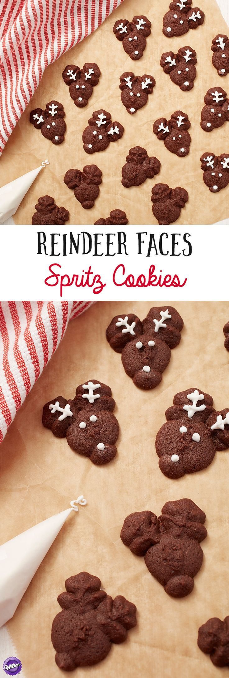 Reindeer Faces Spritz Cookies - Always the cutest cookies on the platter, these Reindeer Face Cookies are made them using the Wilton Simple Success Cookie Press, the Reindeer disc from the 6-Pc. Cookie Press Disc Set and Chocolate Spritz Cookie Recipe. Great to bring to the cookie exchange.