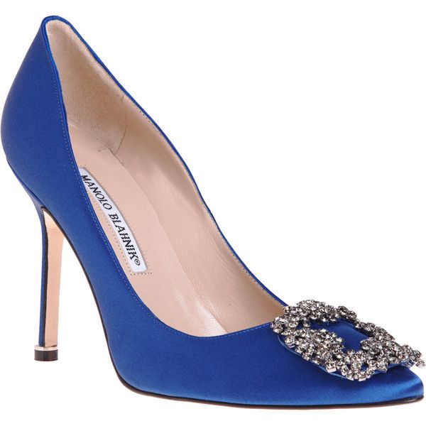 Manolo Blahnik Women's Hangisi Pumps ($995) ❤ liked on Polyvore featuring shoes, pumps, heels, blue, manolo blahnik shoes, blue satin shoes, blue heeled shoes, blue satin pumps and blue slip on shoes