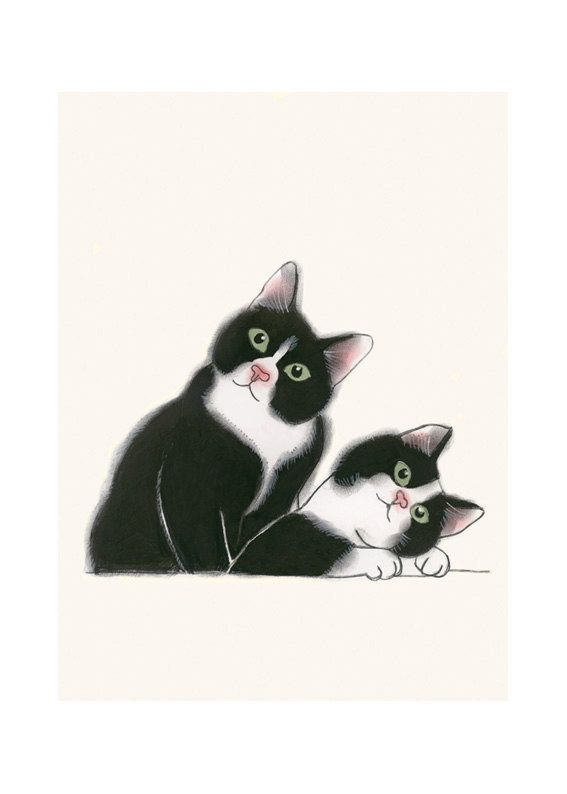 "Cat Wall Art illustration tuxedo cat print 4 for 3 SALE Didier and Leon - 8.3"" X…"