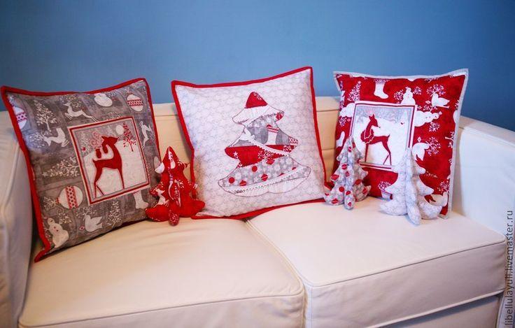 Купить Новогодний набор - красный, подушка, лоскутная подушка, лоскутная наволочка, наволочка, наволочки на подушки