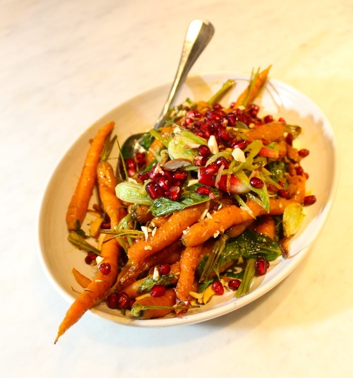 Harissa roast carrots, fennel, radish & almonds @foodorbit photo by Kendal Walton