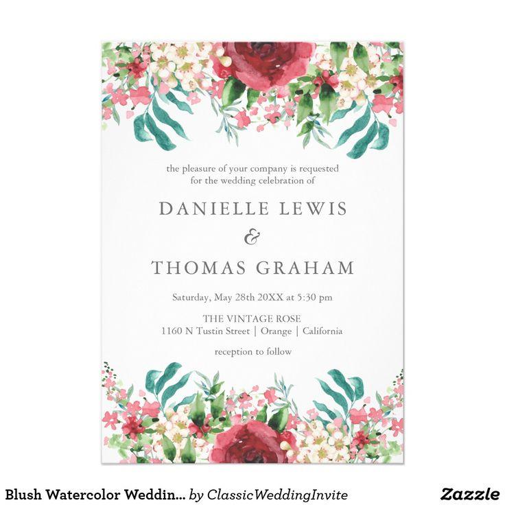 Blush Watercolor Wedding Invitation