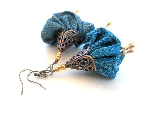 Ocean green oriental statement fiber earrings by Gilgulim on Etsy, $14.80