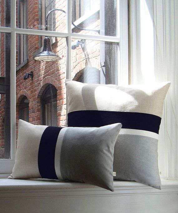Gray Chambray Striped Lumbar Pillow 12x20 от JillianReneDecor