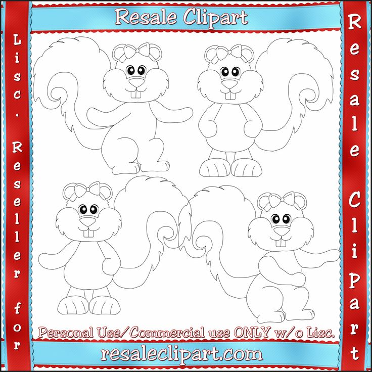 Girl Squirrel Line Art #Clipart