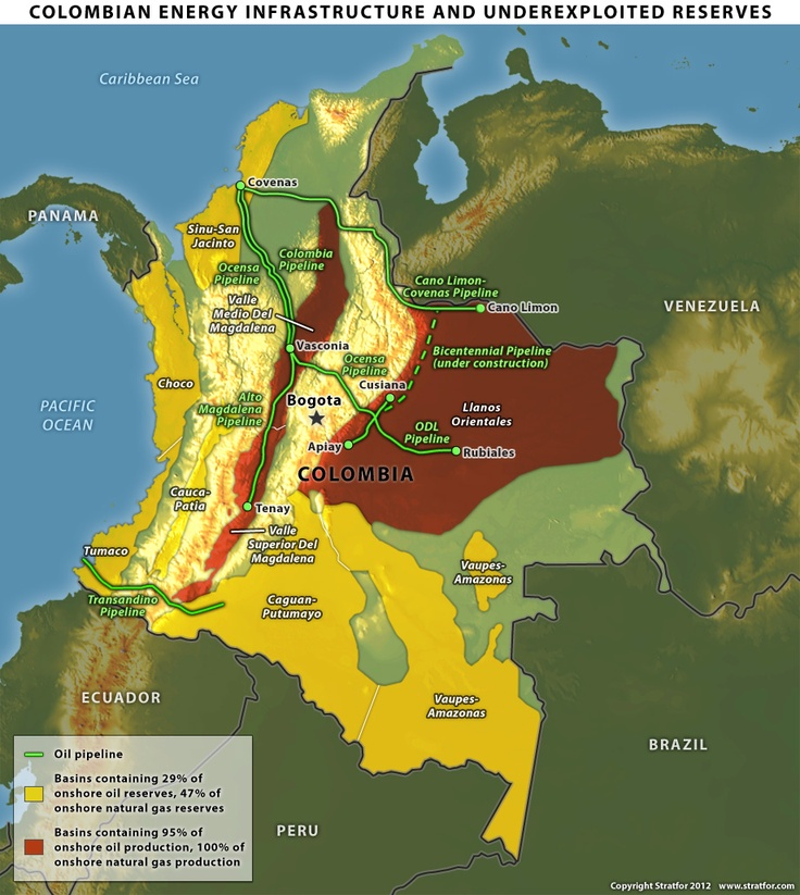 Political Map Of Central America And The Caribbean%0A Colombian Energy Infrastructure and Underexploited Reserves  From Stratfor