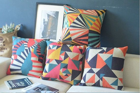Set of 4 Nordic Geometric Pillow Covers Scandanavian Throw Pillows Cushion Covers Linen Cotton Covers on Etsy, $100.00
