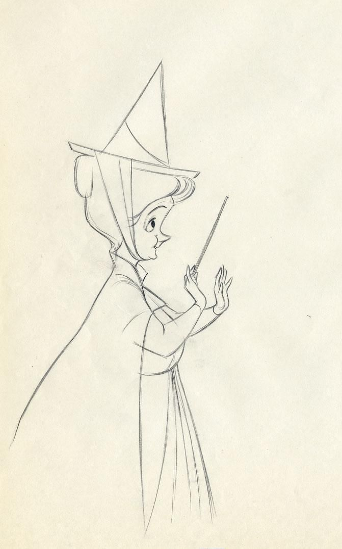 sleeping beauty - fauna sketch, she was my favourite fairy in this film