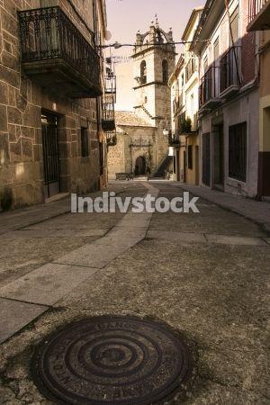 street of Banos de Montemayor old town, Spain