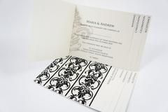 Classic Tabbed booklet invitation design constructed with a flocked paper design that appears on the front of the tab and scripted text of your choice in the other tabs Wedding Tab invitations generally include a cover, ceremony, reception and RSVP, however invitation tabs can be customized to suit your individual needs