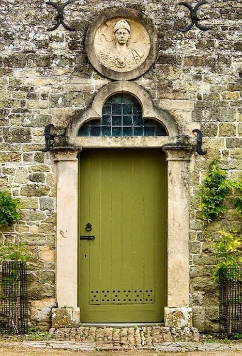 Old World Entrance With Green Door Old World Windows Doors And