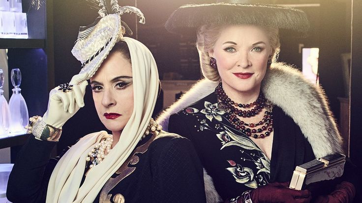 Patti LuPone and Christine Ebersole star as the rival makeup mavens Helena Rubinstein and Elizabeth Arden.