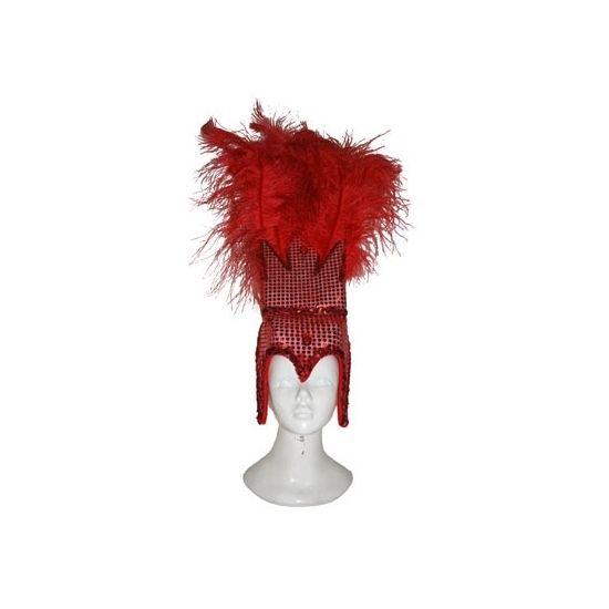 Glitter & Glamour themafeest: Deze rode Braziliaanse hoofdtooi is gemaakt van polyester en bedekt met pailletten. Geschikt voor dames.