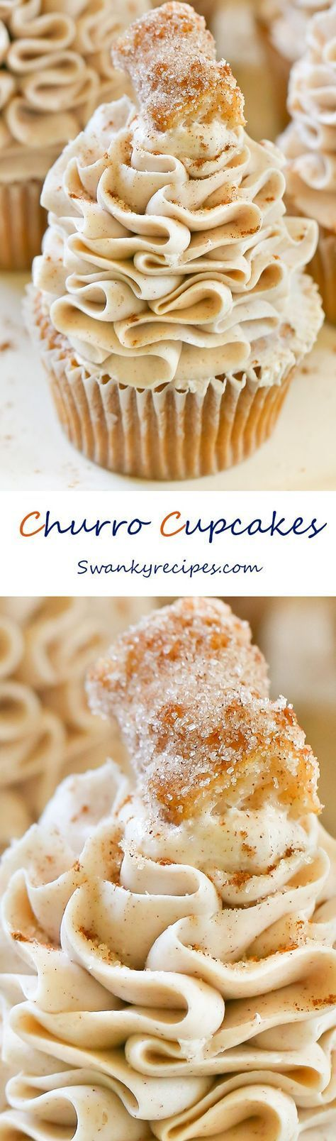 Churro Cupcakes - Dreamy cinnamon and vanilla cupcakes with Cinnabon Cinnamon Cream Cheese Frosting and a sugary churro on top! To date, these churro cupcakes are my favorite dessert yet!