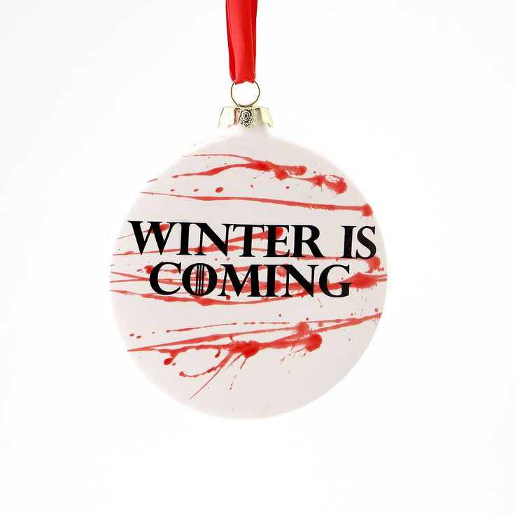 """Double sided ornament feature Game of Thrones Direwolf and """"WINTER IS COMING"""" on reverse side. Winter is coming...I asked Jon Snow what he wanted for Christmas, and of course he said """"NOTHING."""" But fa"""