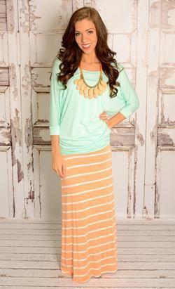 Peach and White Stripe Maxi Skirt. I love it!