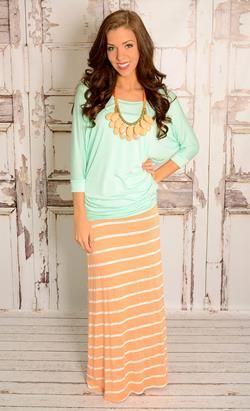 Peach and White Stripe Maxi Skirt. I love it!