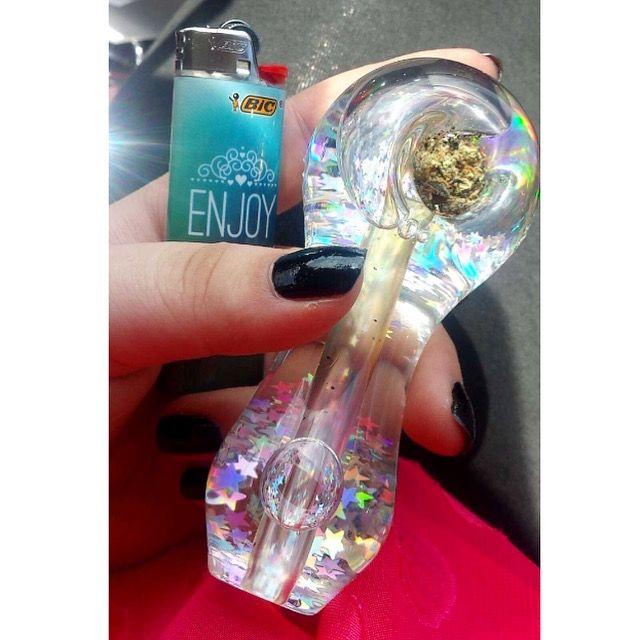 StarGaze liquid glitter pipe from ShopStayWild.com ✨ #weed #cannabis #marijuana #bong #pipe #bubbler #420 #ganja #710 #cbd #dabs #grinder