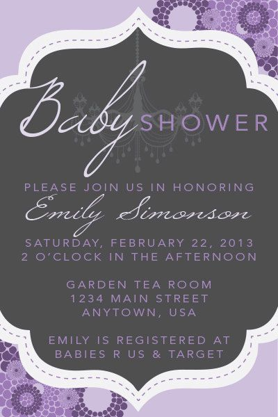 Chandelier Purple  Baby Shower Invitation por doodlebugandpeep, $15.00