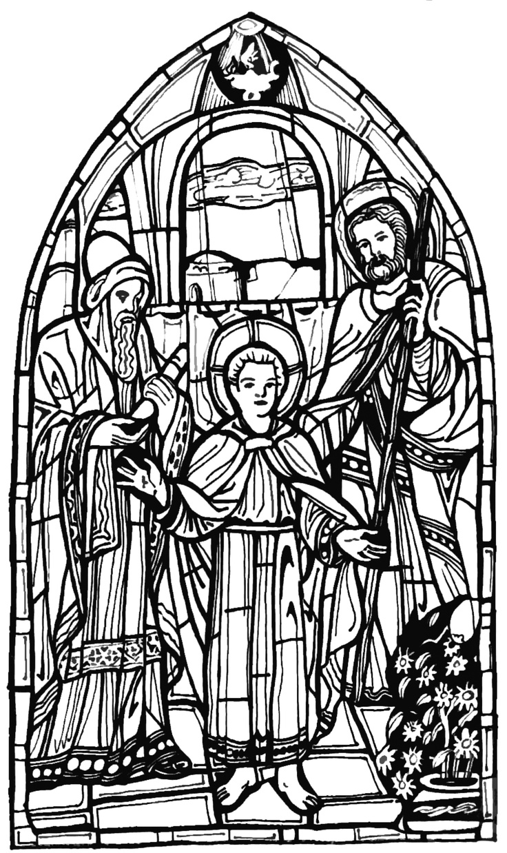 Color The Bible Saint Joseph And Jesus In Temple Stained Glass Free Printable Coloring Page