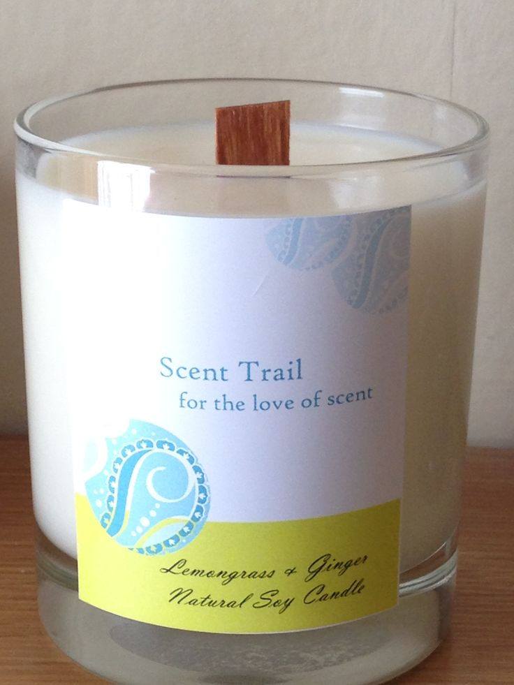 Soy wax, wood wick candle fragranced with a Lemongrass and Ginger blend of essential oils. www.scent-trail.co.uk