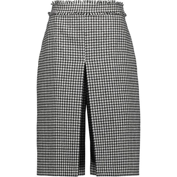 J.W.Anderson Fringed houndstooth wool-blend culottes ($290) ❤ liked on Polyvore featuring pants, capris, black, wide leg trousers, cropped capri pants, cropped pants, high rise trousers and wide leg cropped pants
