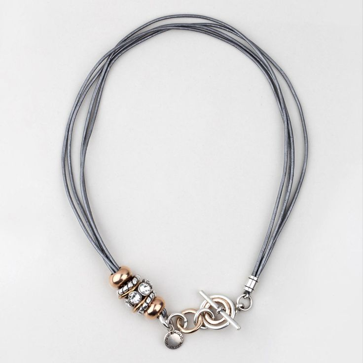#miglio Testament to Time Necklace - Steel grey multi-strand leather necklace with Rose Allure and burnished silver plated rings and beads created with Swarovski® crystals - www.miglio.com
