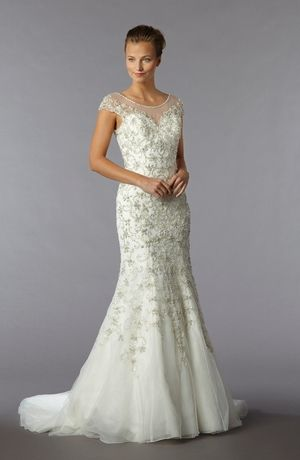 Illusion Sheath Wedding Dress  with No Waist/Princess Seams in Beaded Embroidery. Bridal Gown Style Number:32780819