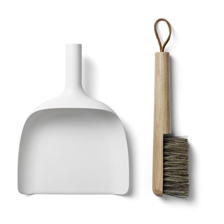 Menu dustpan and brush with funnel - white