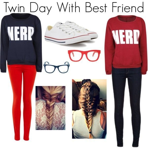 Bestfriend Outfits  Left A Blue  Nerd  Pull Over With Red Pangs And White  Converse And Blue Glasses And A Fishtail Braid  Right Red  Nerd  Pull Over  With. 8 best Twinning images on Pinterest   Halloween ideas  Carnival