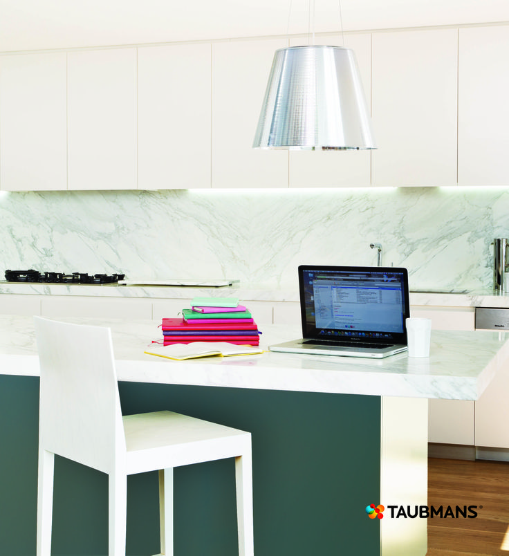 Unexpected colour in a kitchen creates a new focal point.  Don't always think the splashback is where to need to put your colour. #Taubmans
