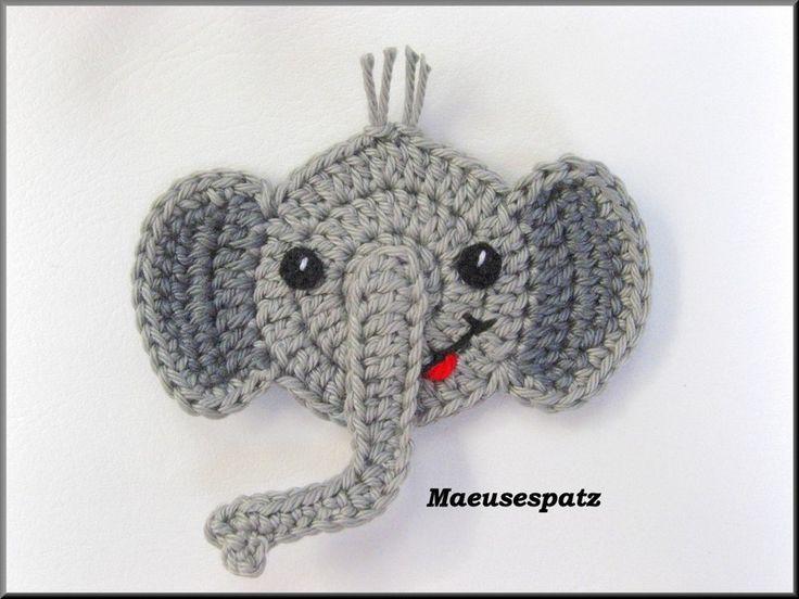 ♥ Chrissi Grau ♥ Elefant Häkelapplikation
