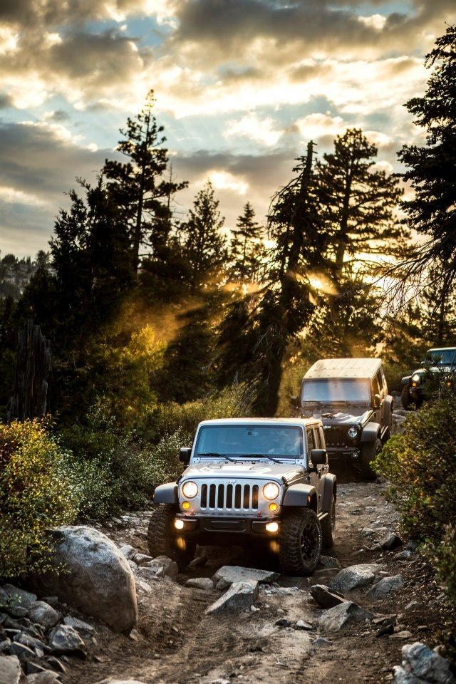 Jeeping off-road in the mountains/woods...over rocks  :  jeep wrangler