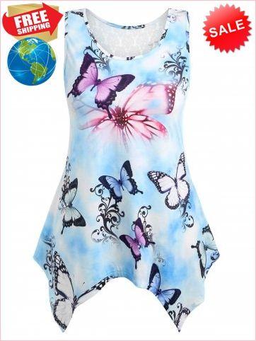 04e2080638c7b4 Best Prices Plus Size Asymmetric Lace Butterfly Tank Top 2155997  sLeCl0Wnat7QSkwUxW9J Cheap Sale @RoseGal.com