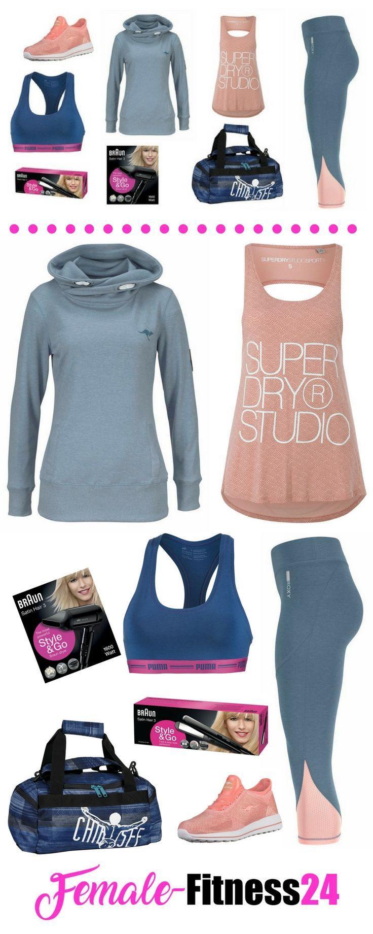 So stylt man eine Capri-Leggings und lässt nebenbei die Beine länger wirken: Fitness-Outfit für Frauen | Workout-Kleidung bestehend aus: Fitness-Top, Sport-Bra / Sport-BH, 3/4 Leggings / Capri-Leggings, Sweatshirt, Fitness-Sneaker, Sporttasche, Reisehaartrockner und Reise Haarglätter - ideal fürs Workout, Fitness-Training, Kurse wie z.B. Bauch, Beine, Po, Dance-Fitness, Aerobic