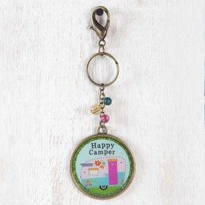 Happy Camper Glitter Key Chain