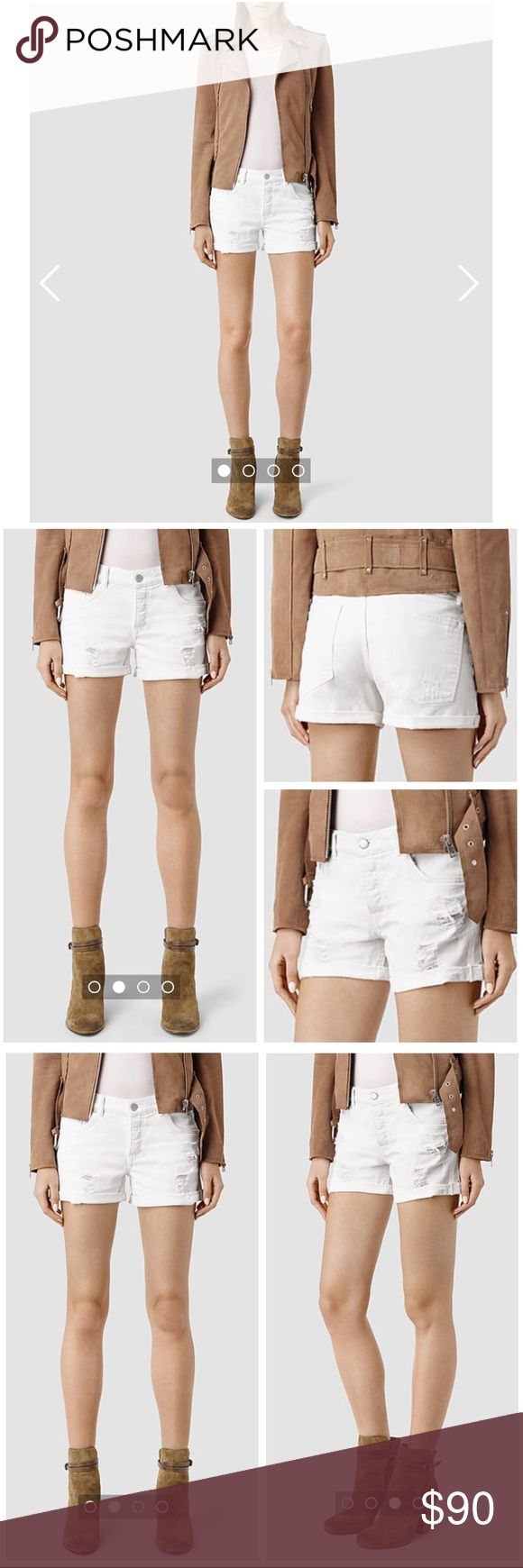 Sale❗️⬇️AllSaints Rip Short in White Cut off denim shorts in white with hand finished distressed patches and finished hem. Button up fly. Mid rise. Size 26. No trades. All Saints Shorts Jean Shorts