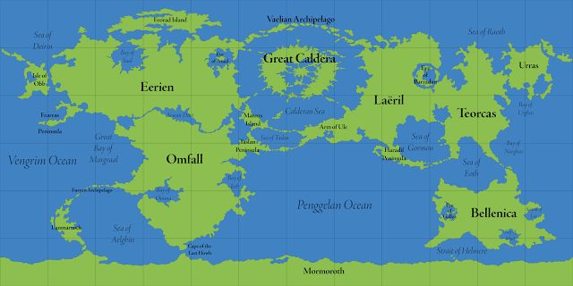 Calidars World Map With Map Labels The Great Caldera Is The - World map with labels