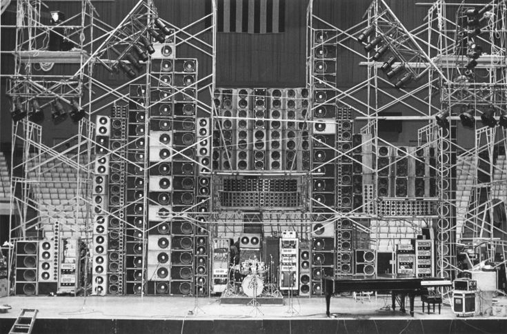 Bear's Wall of Sound - Cow Palace  -  each stack of speakers belongs to a different member of the band.