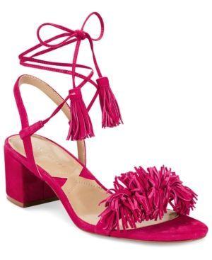 Adrienne Vittadini Allen Lace-Up Sandals - Pink 6.5M