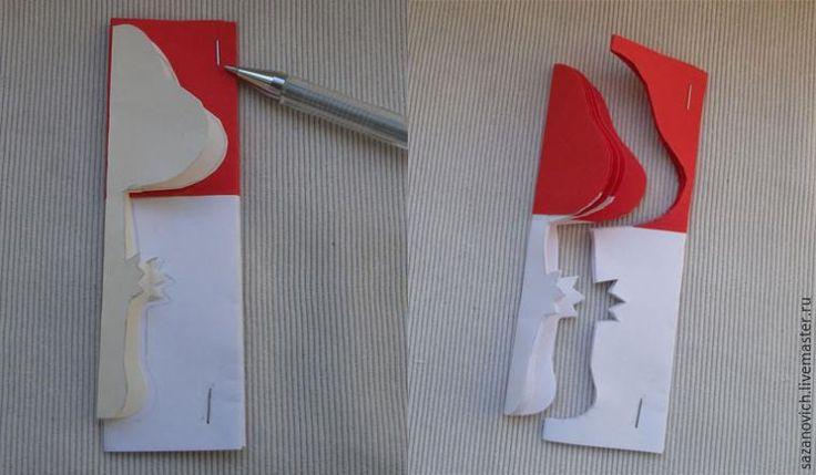 1. От листа белой бумаги по длинной стороне отрежьте две полоски шириной 8 см, а от красной бумаги — две полоски шириной по 6 см (красная бумага должна быть обязательно двусторонняя). 2. Красные и белые полоски склейте попарно (ширина припуска 5 мм) и сложите каждую заготовку три раза пополам (по ширине). Выкройка (в натуральную величину): 3. Выкройку мухомора приложите к сгибу получившейся…