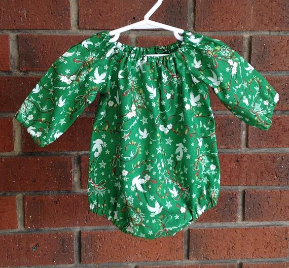 Baby and toddler girl Christmas bubble romper in green with