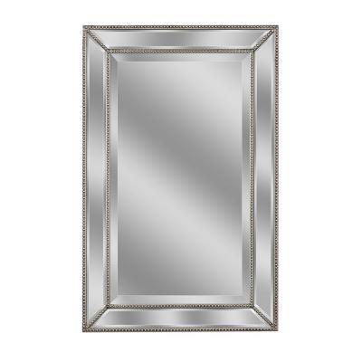 Deco Mirror 32 in. L x 20 in. W Metro Beaded Mirror in Silver-1204 - The Home Depot
