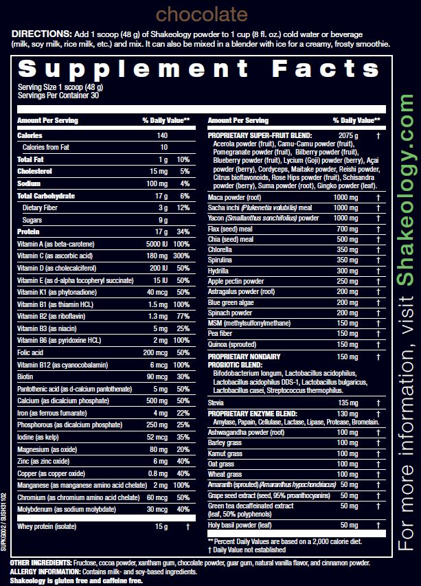Chocolate Superfood Shakeology Nutrition Info and Ingredients    www.myshakeology.com/melissasteinman