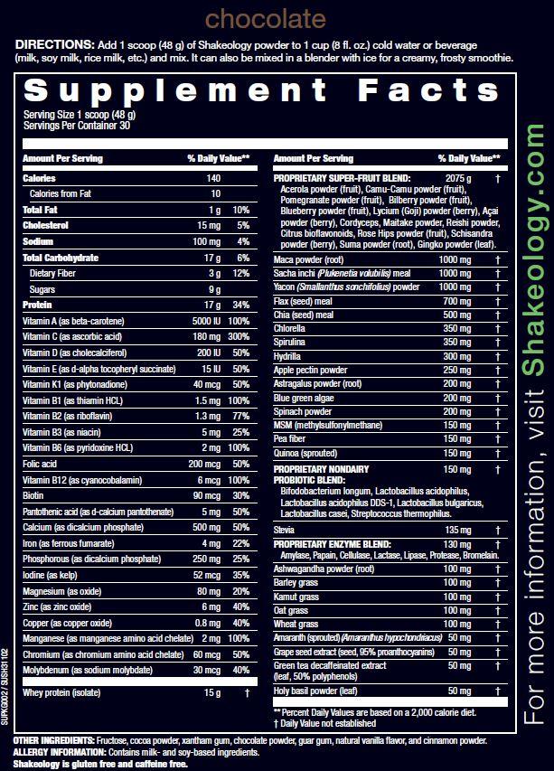 Chocolate Superfood Shakeology Nutrition Info and Ingredients www.myshakeology.com/melissasteinman