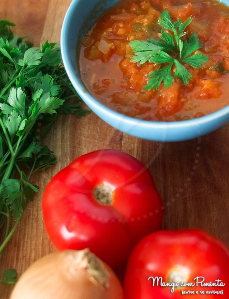 Receita de Molho de Tomate Caseiro, para ver a receita clique na imagem para ir ao Manga com Pimenta.