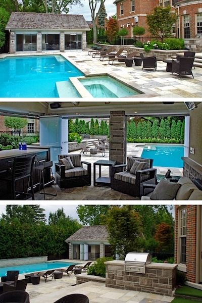 LUXURY POOLSIDE CABANA Fully enclosed open concept stone and stucco #cabana with built in stone charcoal #BBQ, custom made bar cabinetry, gas #fireplace, fully automated audio and video system, functional and mood lighting, quartz heaters, full kitchen, wood ceilings, oversized 4 piece bathroom, tempered glass foldaway door panels, fully automated insect screens, custom made blinds, #flagstone flooring and an outdoor shower. #outdoor living #pools #dusty #miller #landscaping #toronto