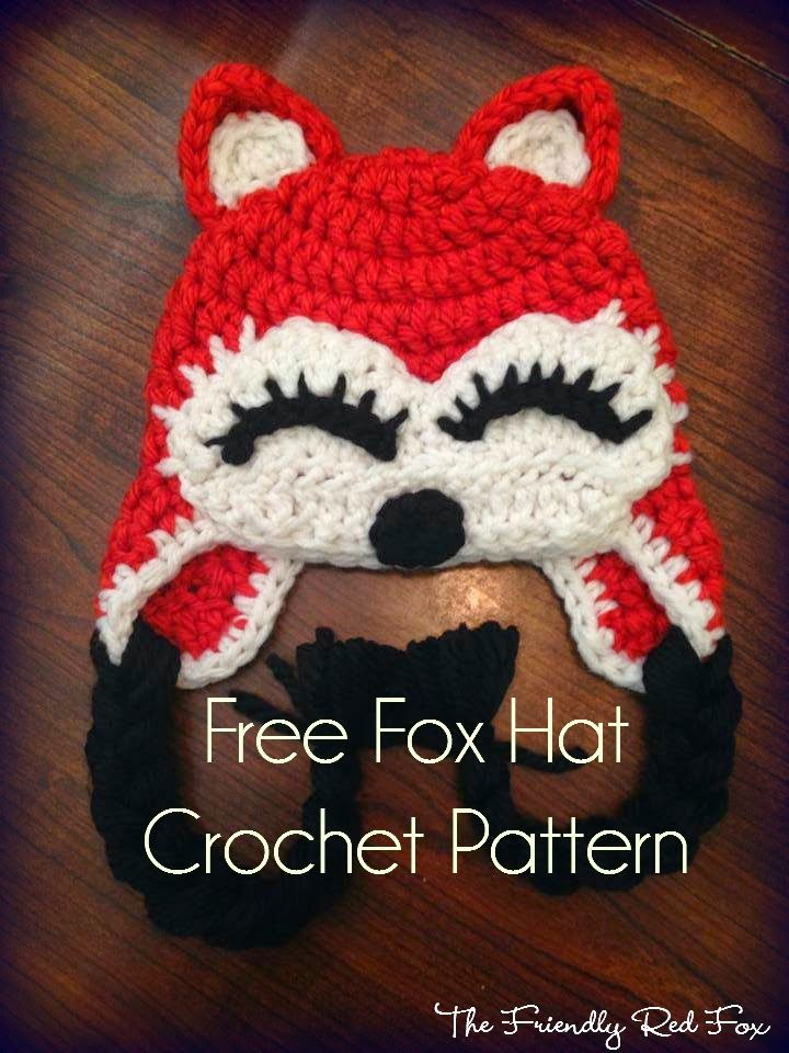 The Friendly Red Fox: Free Fox Hat Pattern  ~ Link correct and pattern is FREE when I checked on 29th March 2015   USA terminology