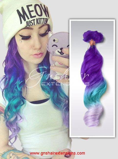 Lavender Hair,Mint Purple Violet Dip Dyed Pastel Human Hair Extensions,Customed Hair,Hair Wefts,3 bundles Full Set